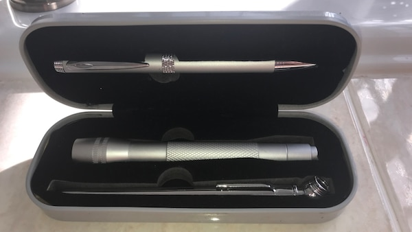Pen, Flashlight and air pressure gauge