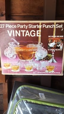 Vintage 27pc Anchor Hocking Punch bowl set