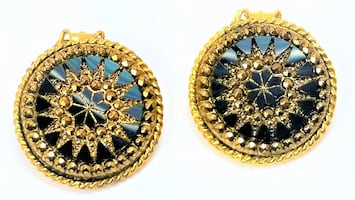 1960'S VINTAGE LGM CLIP-ON ROUND BLACK SUNBURST EARRINGS
