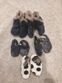 5 pairs of Robeez leather kids shoes and boots.  Burnaby, V5B 1K7