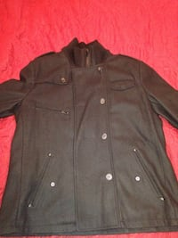 Mens black rivet wool peacoat