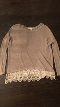 Searching For Stars knit sweater with crochet bottom - size L - from UO Toronto, M3H 1E2
