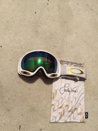 green Oakley polarized goggles with white frame and pouch Calgary, T2E 0E4