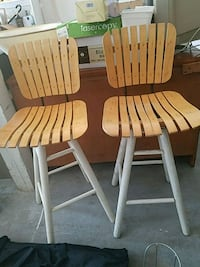 two white-and-brown wooden windsor chairs San Antonio, 78233