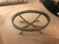 Coffee Table with Glass Top & Copper/ Gold Iron Base Falls Church, 22042