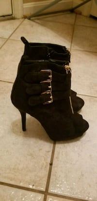 pair of black suede platform stiletto booties Hyattsville, 20784