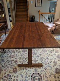 Teak Trestle Table and 4 Chairs null