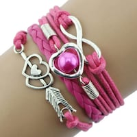 1PC Infinity Love Heart Pearl Friendship Antique Leather Charm Bracelet Hot Pink London