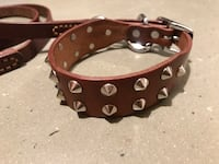 Genuine Leather studded collar and lead set Calgary, T2Z 3H7