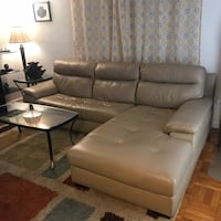 Beige Leather Sectional Sofa w/ Chaise Washington, 20020