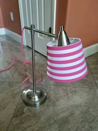 Pink & White Stripped Table lamp w/silver base  Sarasota, 34238