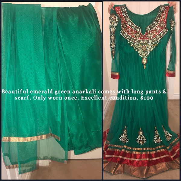 women's green and red dress