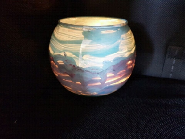 Artisan hand painted glass vase / candle holder 349d10a3-ba3c-419c-b827-58bde137a3df