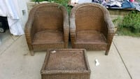 Wicker patio chairs and foot rest.  Kettering