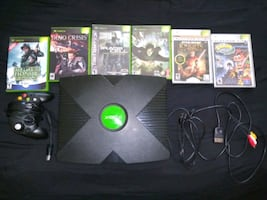 Xboz with 6 games controller & cables