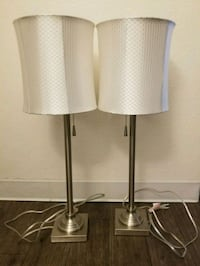 two stainless steel base white shade table lamps Las Vegas, 89121