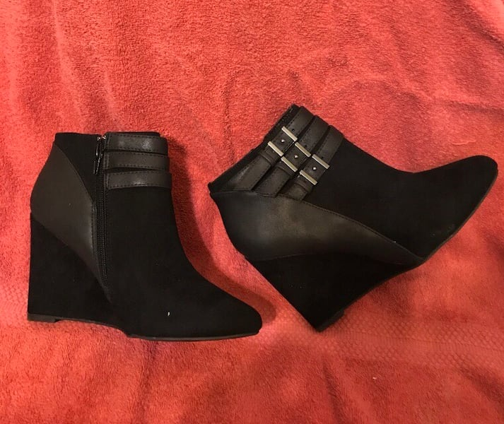 New Sophisticated Black Suede Wedge Ankle Boot - 8.5  6ea4817a-3bd5-4571-9bf4-58d5ceae5edf
