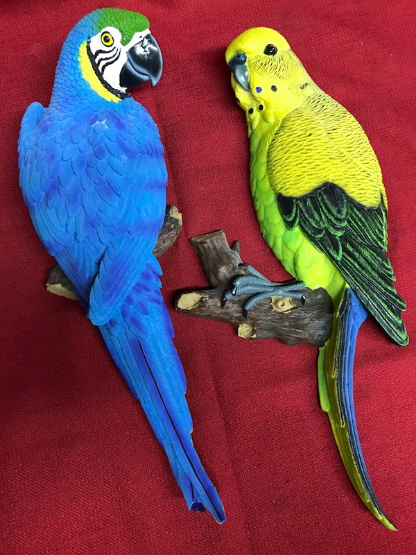 "Two Decorative Poly Resin Parrots Wall Hangings Sculptures Figurines Appox. 7 1/2""W x 16""T x 3 1/2""thick"