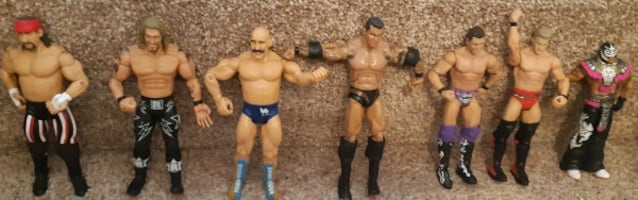 "Seven (7) Wrestling Figures 6""/7""  $45 for the lot or $10 each  Pick-up in Newmarket    (Ref # Lot B/Bx7)"