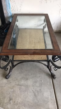 rectangular glass-top table with brown wooden frame Bakersfield, 93307