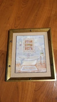 bathroom painting with brown frame