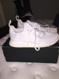 Pair of triple white adidas NMD R1 shoes with box Saanich, V8Z 6E9