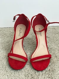 Pair of red open-toe ankle strap heels Carrollton, 75007