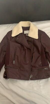 Burgundy faux fur and leather jacket Greenbelt, 20706