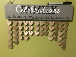 Wooden Birthday Calendar  Comes with 50 hearts