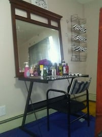 Glass desk chair and mirror set$