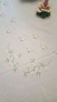 White table cloth  with embroidered roses  Crossville, 38572