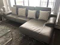 Gray leather sectional sofa with FREE four pillows (like new) Vancouver, V6P