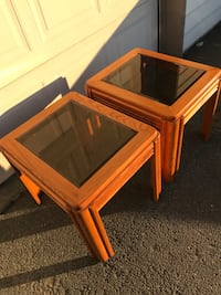Brown wooden framed glass top end table Anchorage, 99515