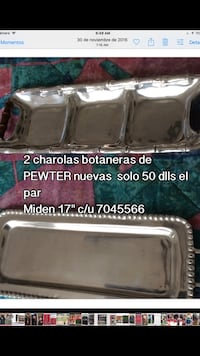 Two pewter tray