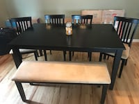 rectangular brown wooden table with four chairs dining set Bloomfield, 07003