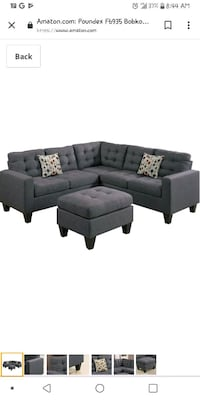 black fabric sectional sofa with throw pillows Baltimore, 21217