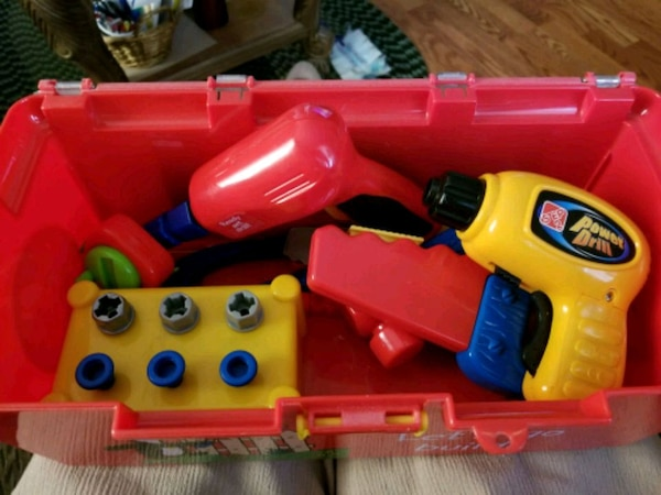 red and yellow plastic toy