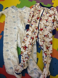 baby's white and blue footie pajama Mission, 78574