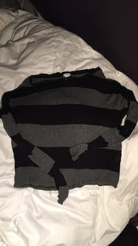 women's black and gray stripe long sleeve blouse North Stormont, K0A 1R0