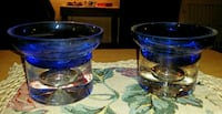 Two Heavy Glass Candle Holders  Akron, 44312