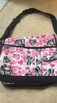 white, pink, and black floral crossbody bag Frederick, 21703
