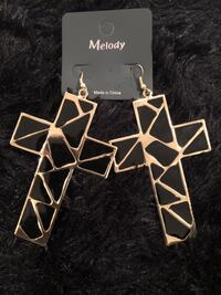 Gold and black cross earrings Temple Hills, 20748