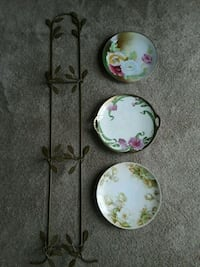 Antique Signed Plates with plate rack