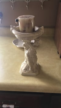 Angel pillar candle holder off white- candle included Olive Branch, 38654