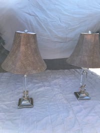 2 Antique Crystal Lamps with Leather Shades Davidson, 28036