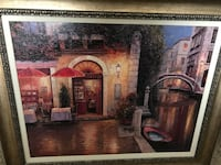 Coffee shop facade still life painting with brown frame Tampa, 33626