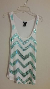 white and teal sequined tank top El Paso, 79936