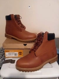 brown Timberland leather work boot with b 58 km