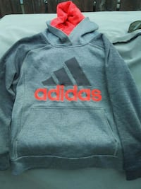 gray and red Adidas pullover hoodie Calgary, T1Y 2R9