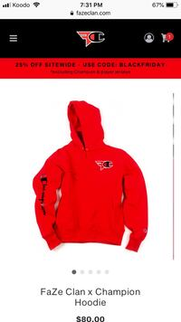 Faze X Champion hoodie (sold out in 30 seconds Waterloo, N2J 1H8